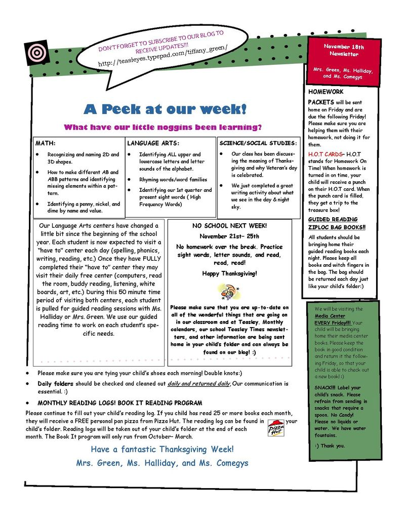 Weekly Newsletter Nov 18
