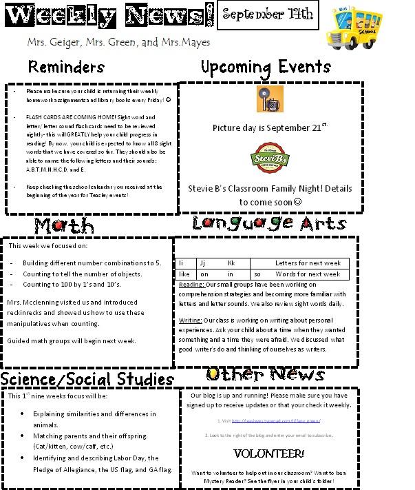 Newsletter 9-14-12