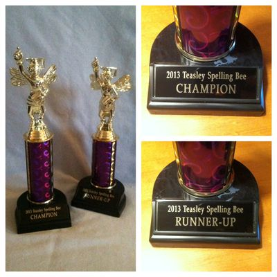 Spelling Bee trophies 2013