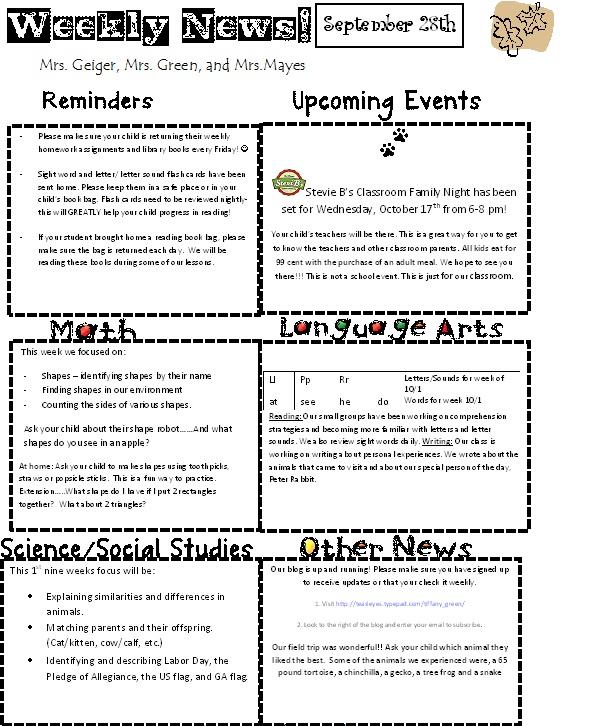 Sept 28 newsletter