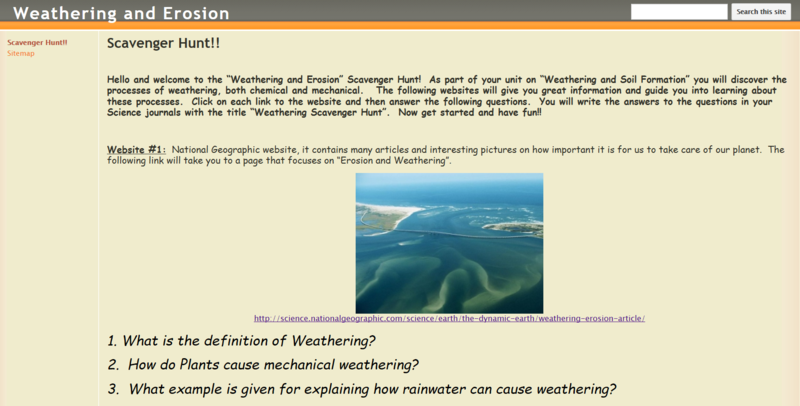 Weathering and erosion scavenger hunt