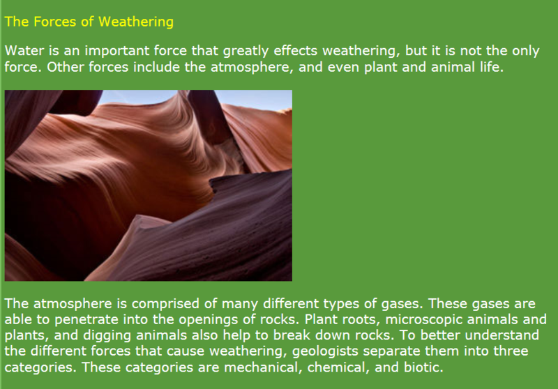 More weathering info